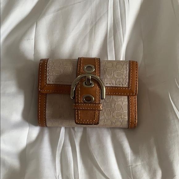 Coach Handbags - Coach wallet purple base fabric tan leather trim